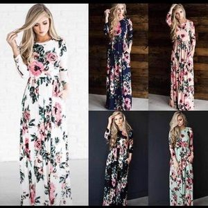 Dresses & Skirts - Floral Maxi Style Dress 3/4 Sleeves